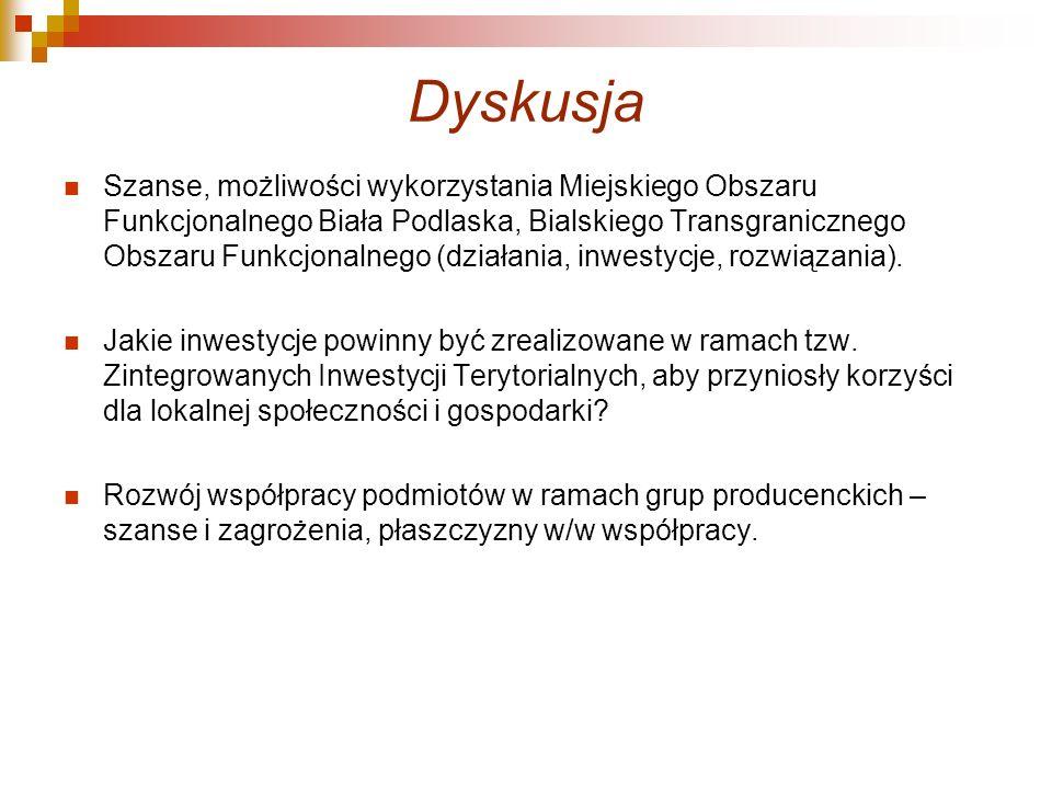 Dyskusja Szanse, możliwości wykorzystania Miejskiego Obszaru Funkcjonalnego Biała Podlaska, Bialskiego Transgranicznego Obszaru Funkcjonalnego (działa