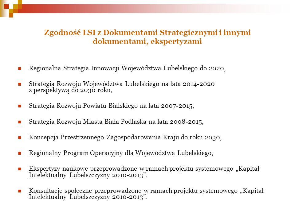 Zgodność LSI z Dokumentami Strategicznymi i innymi dokumentami, ekspertyzami Regionalna Strategia Innowacji Województwa Lubelskiego do 2020, Strategia
