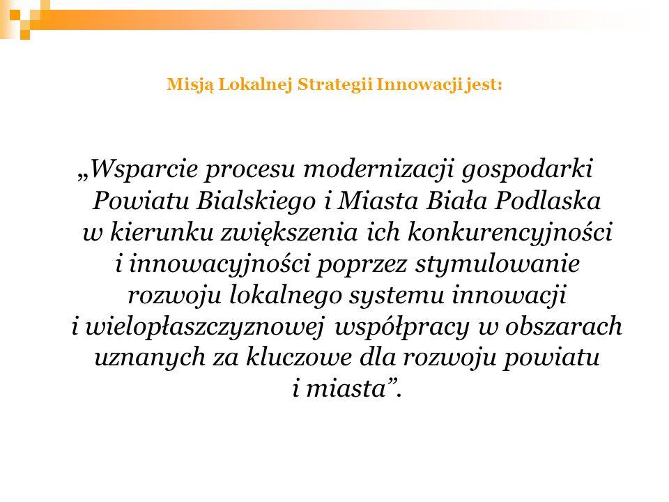 Misją Lokalnej Strategii Innowacji jest: Wsparcie procesu modernizacji gospodarki Powiatu Bialskiego i Miasta Biała Podlaska w kierunku zwiększenia ic