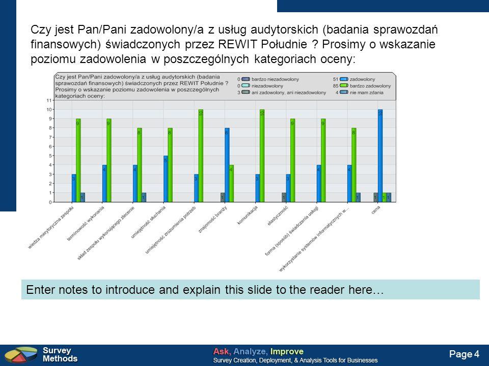 Page 4 Czy jest Pan/Pani zadowolony/a z usług audytorskich (badania sprawozdań finansowych) świadczonych przez REWIT Południe ? Prosimy o wskazanie po