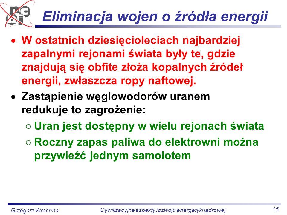 15 Cywilizacyjne aspekty rozwoju energetyki jądrowej Grzegorz Wrochna Eliminacja wojen o źródła energii W ostatnich dziesięcioleciach najbardziej zapa