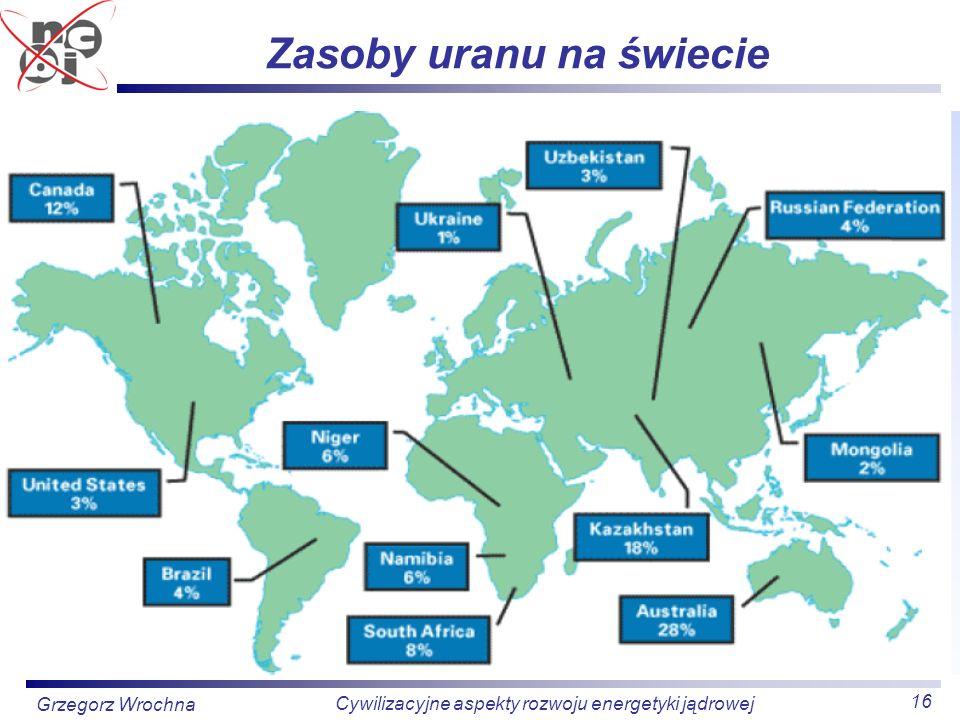 16 Cywilizacyjne aspekty rozwoju energetyki jądrowej Grzegorz Wrochna Zasoby uranu na świecie