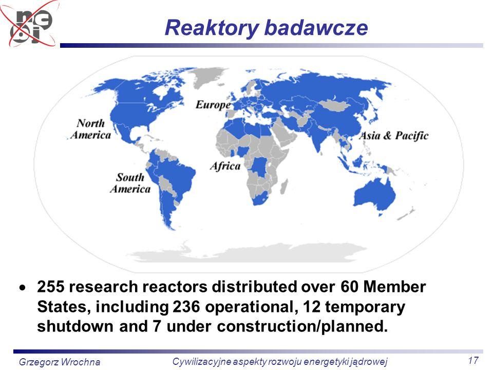17 Cywilizacyjne aspekty rozwoju energetyki jądrowej Grzegorz Wrochna Reaktory badawcze 255 research reactors distributed over 60 Member States, inclu