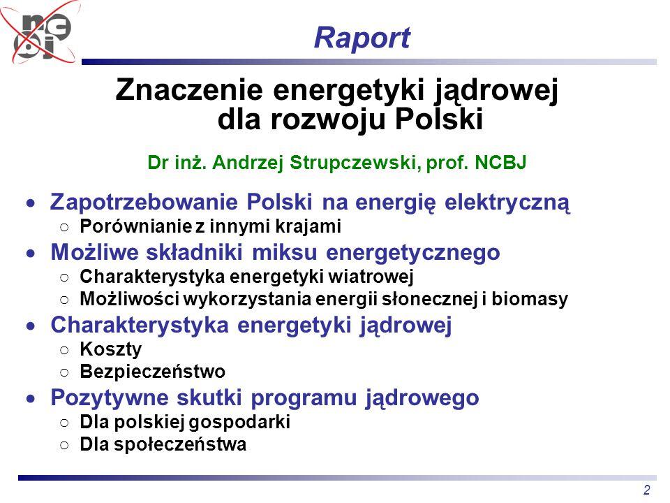 2 Raport Znaczenie energetyki jądrowej dla rozwoju Polski Dr inż. Andrzej Strupczewski, prof. NCBJ Zapotrzebowanie Polski na energię elektryczną Porów