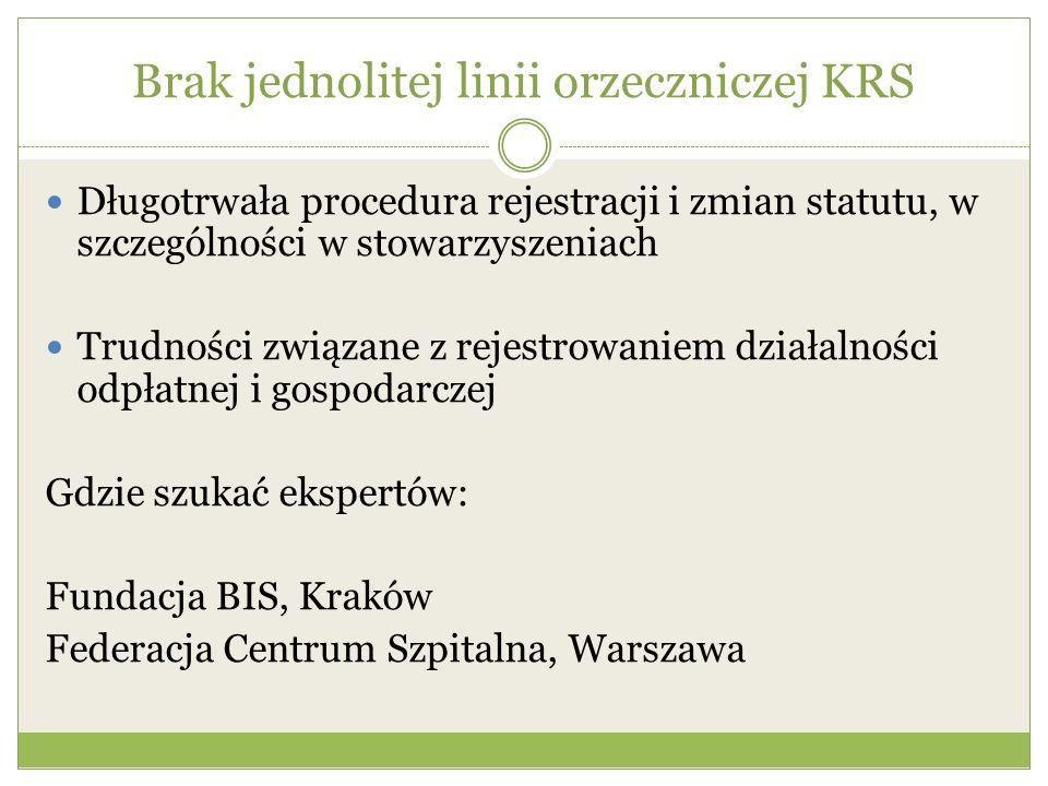 Brak jednolitej linii orzeczniczej KRS Długotrwała procedura rejestracji i zmian statutu, w szczególności w stowarzyszeniach Trudności związane z reje
