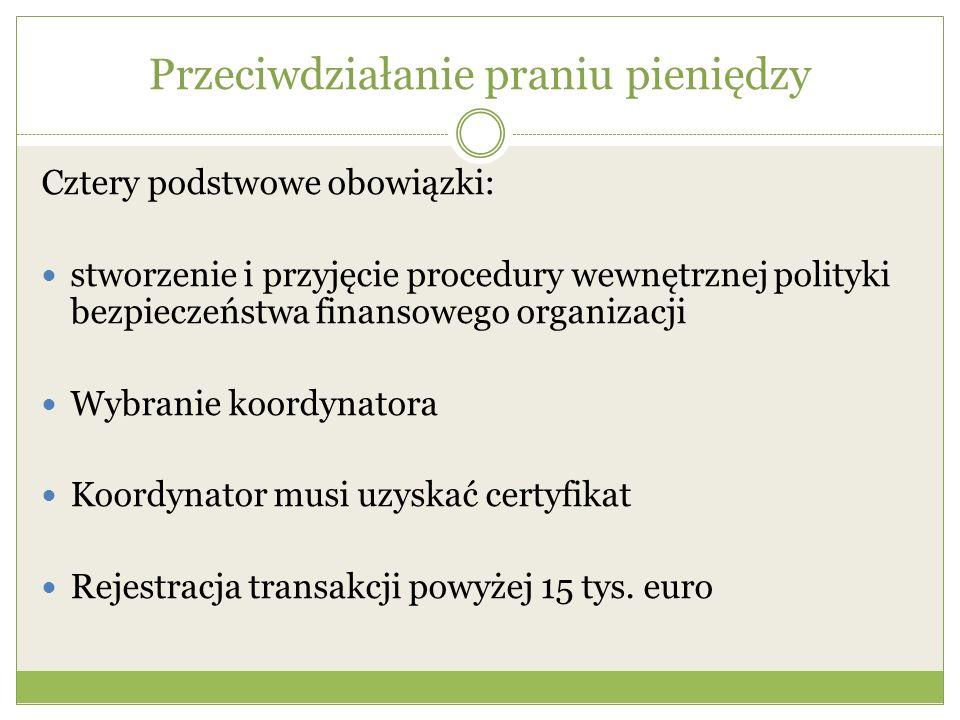 Przeciwdziałanie praniu pieniędzy Cztery podstwowe obowiązki: stworzenie i przyjęcie procedury wewnętrznej polityki bezpieczeństwa finansowego organiz