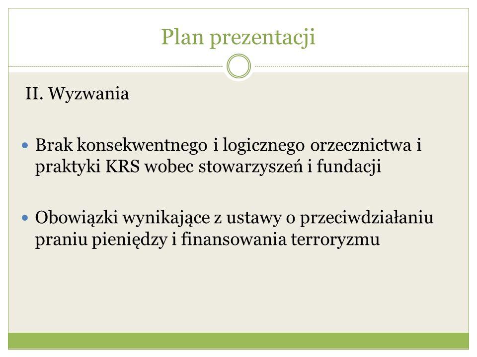 Plan prezentacji II. Wyzwania Brak konsekwentnego i logicznego orzecznictwa i praktyki KRS wobec stowarzyszeń i fundacji Obowiązki wynikające z ustawy