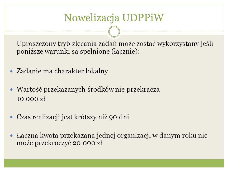 Nowelizacja UDPPiW Uproszczony tryb zlecania zadań może zostać wykorzystany jeśli poniższe warunki są spełnione (łącznie): Zadanie ma charakter lokaln
