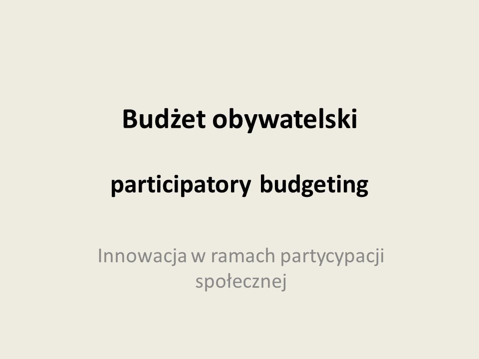 Budżet partycypacyjny – w Polsce często nazywany obywatelskim – to proces decyzyjny, w ramach którego mieszkańcy współtworzą budżet danego miasta, tym samym współdecydując o dystrybucji określonej puli środków publicznych.