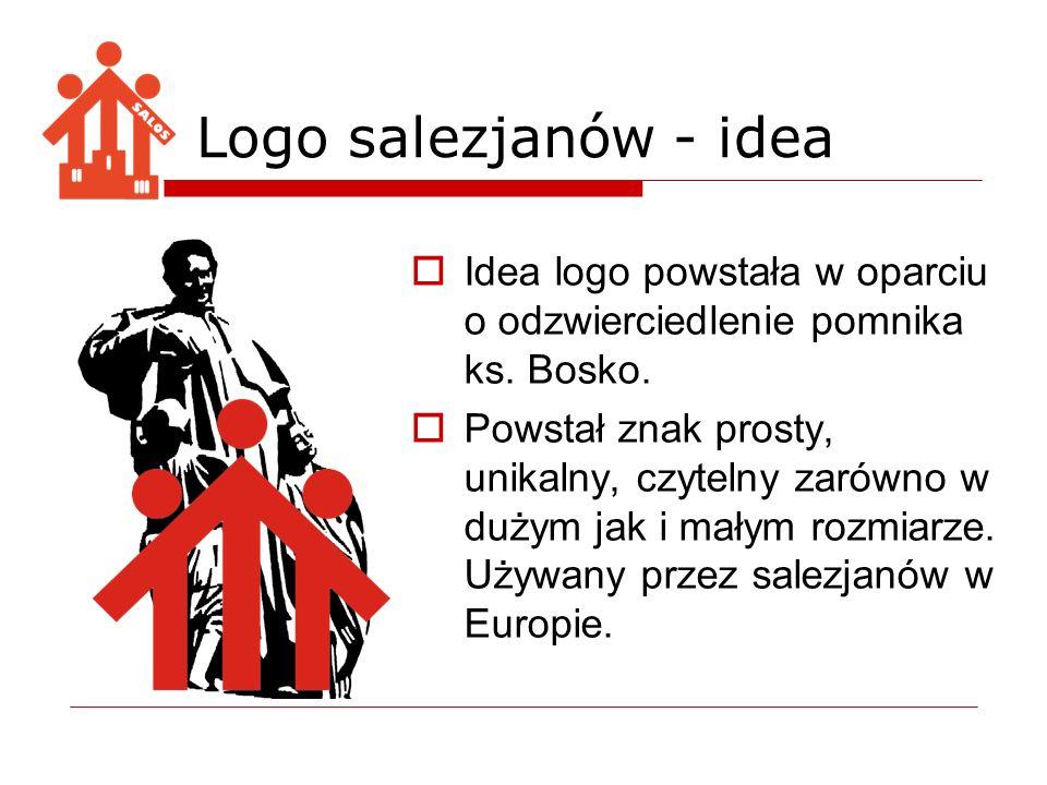 Idea logo powstała w oparciu o odzwierciedlenie pomnika ks. Bosko. Powstał znak prosty, unikalny, czytelny zarówno w dużym jak i małym rozmiarze. Używ