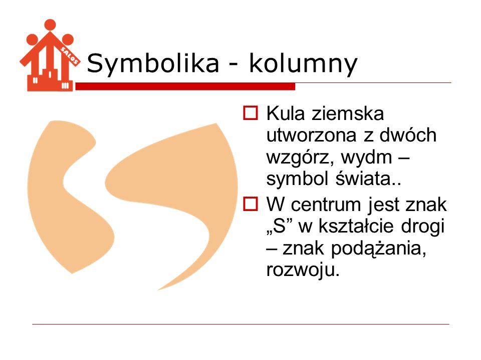 Symbolika - kolumny Kula ziemska utworzona z dwóch wzgórz, wydm – symbol świata.. W centrum jest znak S w kształcie drogi – znak podążania, rozwoju.