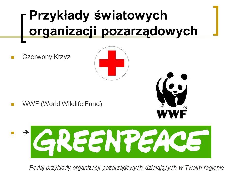 Przykłady światowych organizacji pozarządowych Czerwony Krzyż WWF (World Wildlife Fund) Podaj przykłady organizacji pozarządowych działających w Twoim