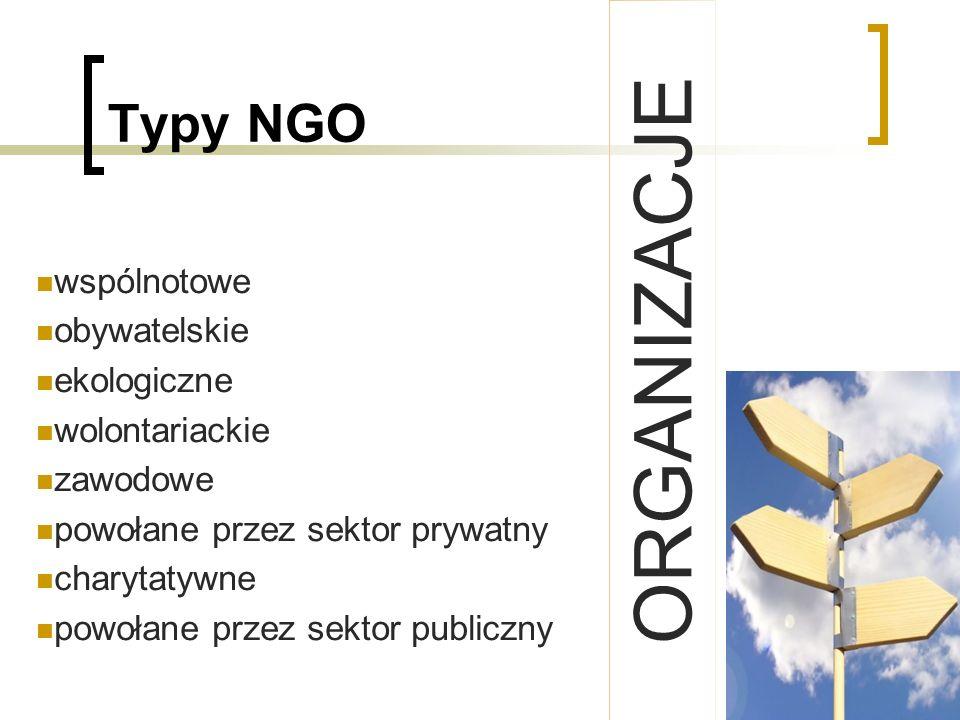 Typy NGO wspólnotowe obywatelskie ekologiczne wolontariackie zawodowe powołane przez sektor prywatny charytatywne powołane przez sektor publiczny ORGA