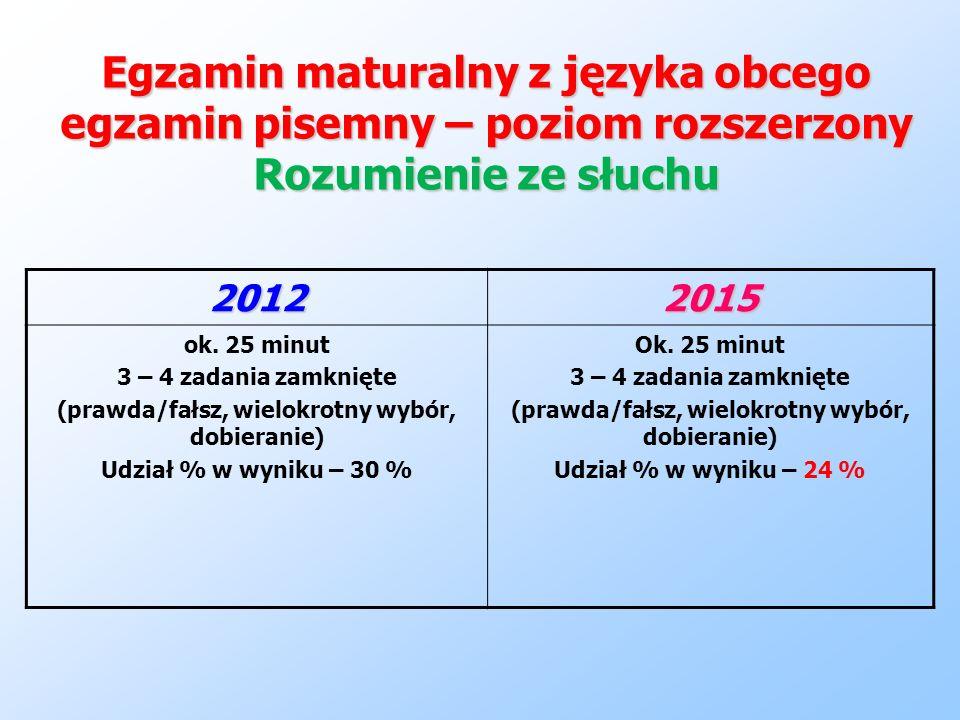 Egzamin maturalny z języka obcego egzamin pisemny – poziom rozszerzony Rozumienie ze słuchu 20122015 ok. 25 minut 3 – 4 zadania zamknięte (prawda/fałs
