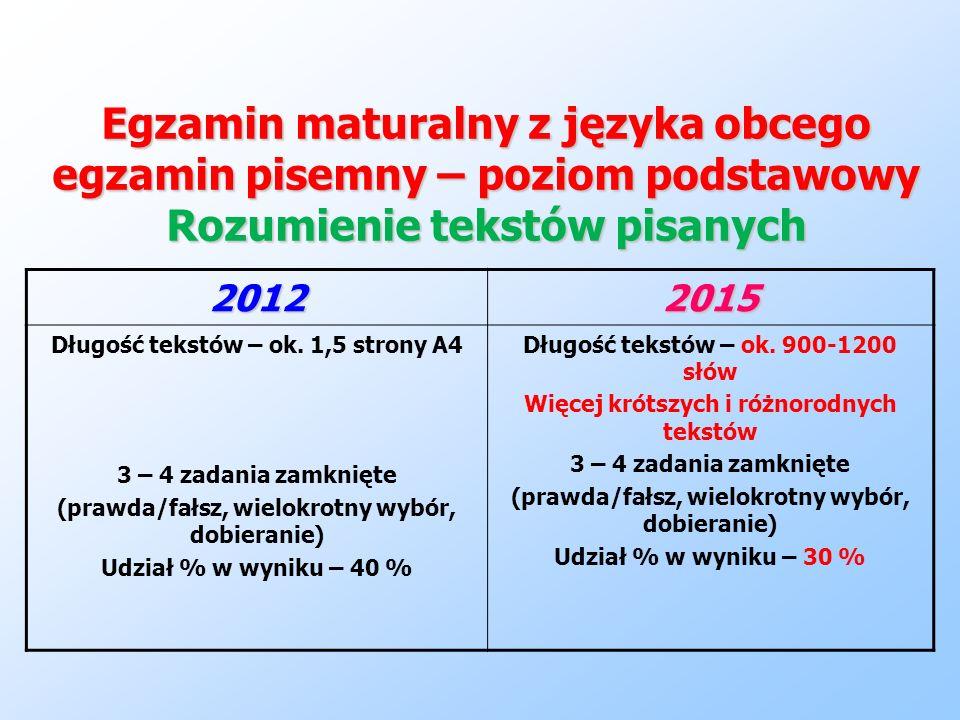Egzamin maturalny z języka obcego egzamin pisemny – poziom podstawowy Rozumienie tekstów pisanych 20122015 Długość tekstów – ok. 1,5 strony A4 3 – 4 z