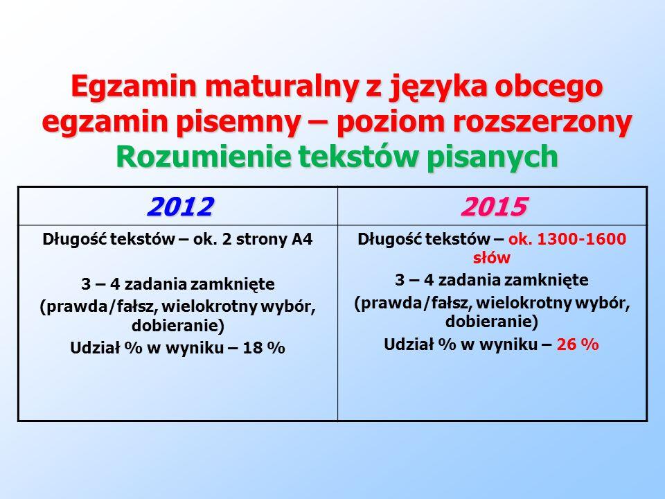 Egzamin maturalny z języka obcego egzamin pisemny – poziom rozszerzony Rozumienie tekstów pisanych 20122015 Długość tekstów – ok. 2 strony A4 3 – 4 za