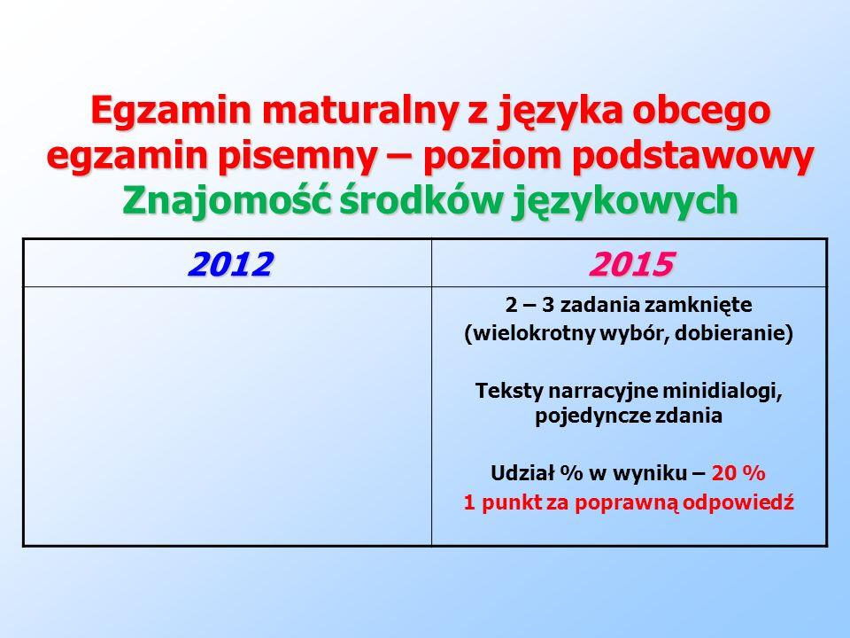 Egzamin maturalny z języka obcego egzamin pisemny – poziom podstawowy Znajomość środków językowych 20122015 2 – 3 zadania zamknięte (wielokrotny wybór