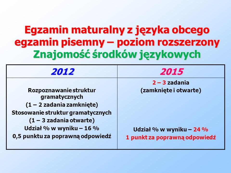 Egzamin maturalny z języka obcego egzamin pisemny – poziom rozszerzony Znajomość środków językowych 20122015 Rozpoznawanie struktur gramatycznych (1 –