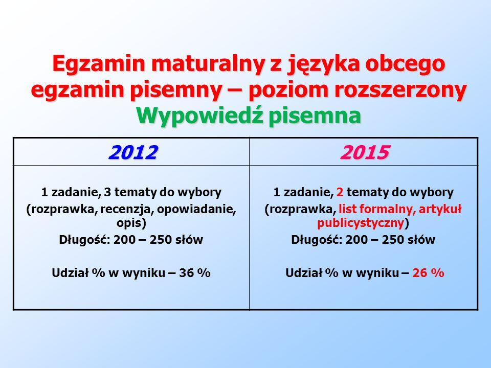 Egzamin maturalny z języka obcego egzamin pisemny – poziom rozszerzony Wypowiedź pisemna 20122015 1 zadanie, 3 tematy do wybory (rozprawka, recenzja,