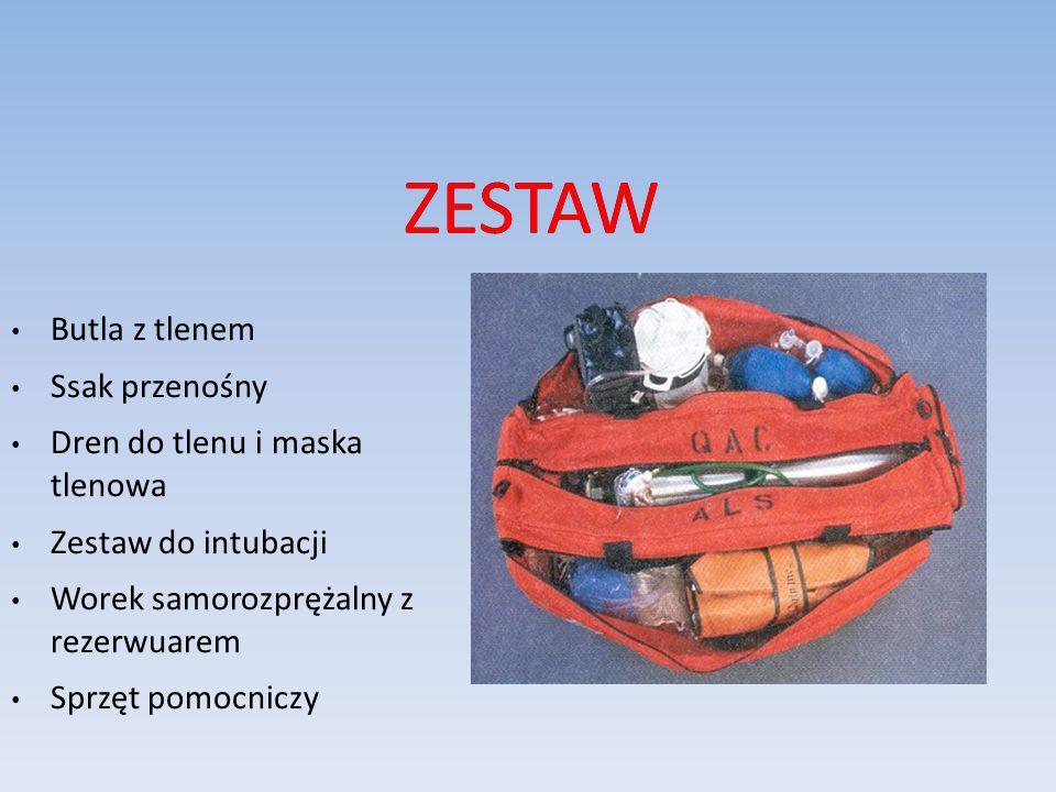 ZESTAW Butla z tlenem Ssak przenośny Dren do tlenu i maska tlenowa Zestaw do intubacji Worek samorozprężalny z rezerwuarem Sprzęt pomocniczy