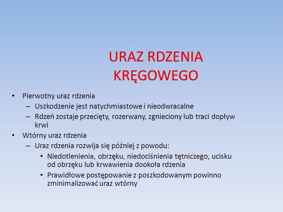 URAZ RDZENIA KRĘGOWEGO Pierwotny uraz rdzenia – Uszkodzenie jest natychmiastowe i nieodwracalne – Rdzeń zostaje przecięty, rozerwany, zgnieciony lub t