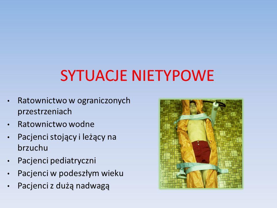 SYTUACJE NIETYPOWE Ratownictwo w ograniczonych przestrzeniach Ratownictwo wodne Pacjenci stojący i leżący na brzuchu Pacjenci pediatryczni Pacjenci w