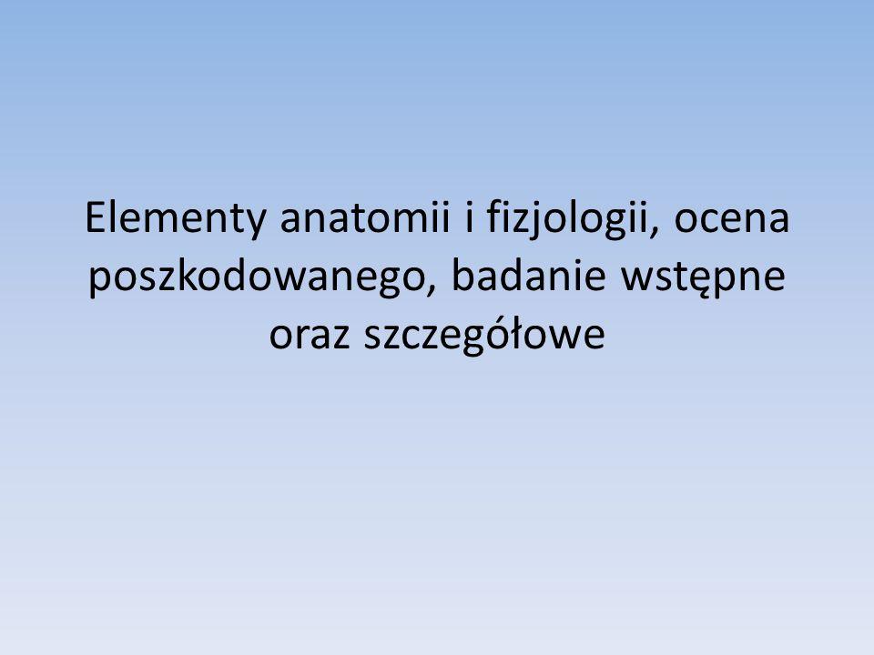 Elementy anatomii i fizjologii, ocena poszkodowanego, badanie wstępne oraz szczegółowe