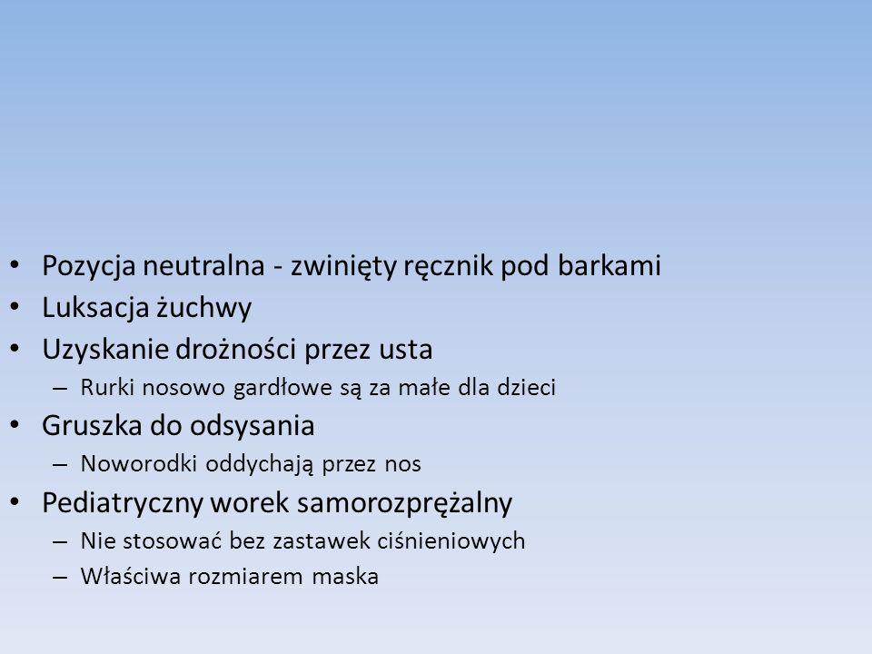 Pozycja neutralna - zwinięty ręcznik pod barkami Luksacja żuchwy Uzyskanie drożności przez usta – Rurki nosowo gardłowe są za małe dla dzieci Gruszka