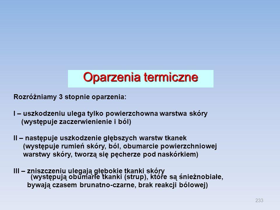 Oparzenia termiczne Rozróżniamy 3 stopnie oparzenia: I – uszkodzeniu ulega tylko powierzchowna warstwa skóry (występuje zaczerwienienie i ból) II – na