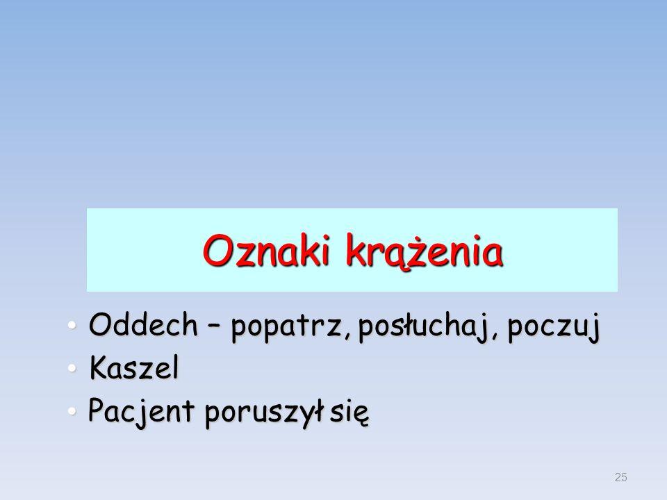 Oznaki krążenia Oddech – popatrz, posłuchaj, poczuj Oddech – popatrz, posłuchaj, poczuj Kaszel Kaszel Pacjent poruszył się Pacjent poruszył się 25