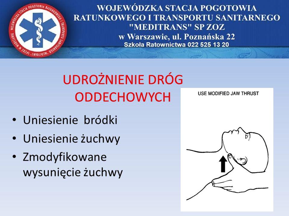 UDROŻNIENIE DRÓG ODDECHOWYCH Uniesienie bródki Uniesienie żuchwy Zmodyfikowane wysunięcie żuchwy