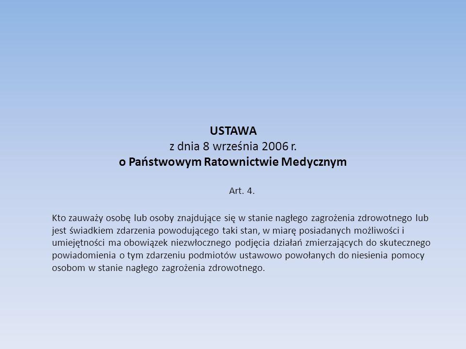 USTAWA z dnia 8 września 2006 r. o Państwowym Ratownictwie Medycznym Art. 4. Kto zauważy osobę lub osoby znajdujące się w stanie nagłego zagrożenia zd