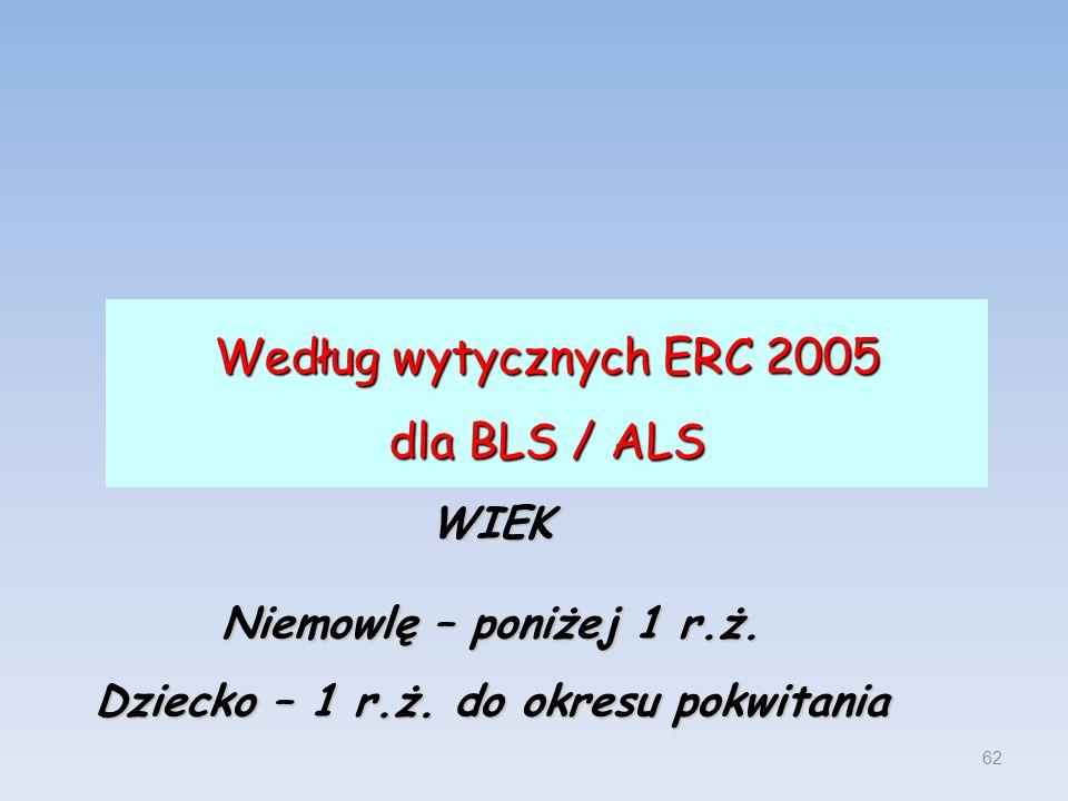 Według wytycznych ERC 2005 dla BLS / ALS 62 WIEK Niemowlę – poniżej 1 r.ż. Dziecko – 1 r.ż. do okresu pokwitania