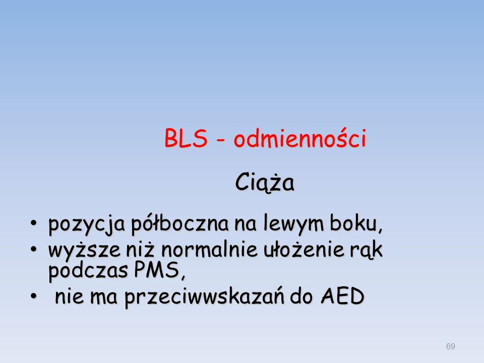 BLS - odmienności Ciąża pozycja półboczna na lewym boku, pozycja półboczna na lewym boku, wyższe niż normalnie ułożenie rąk podczas PMS, wyższe niż no