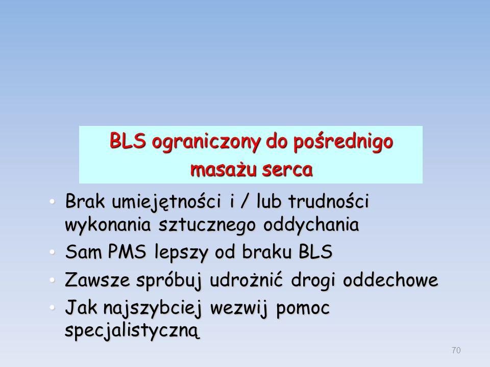 BLS ograniczony do pośrednigo masażu serca Brak umiejętności i / lub trudności wykonania sztucznego oddychania Brak umiejętności i / lub trudności wyk