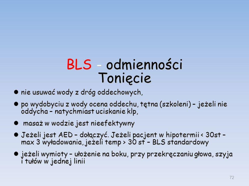 72 BLS - odmienności Tonięcie nie usuwać wody z dróg oddechowych, nie usuwać wody z dróg oddechowych, po wydobyciu z wody ocena oddechu, tętna (szkole