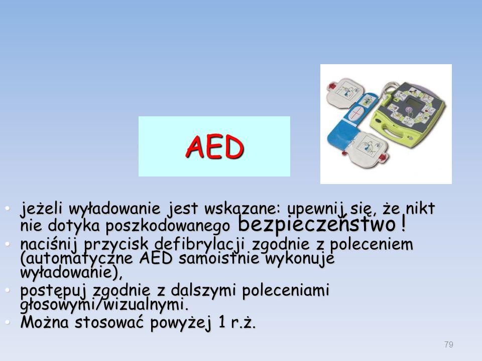 AED jeżeli wyładowanie jest wskazane: upewnij się, że nikt nie dotyka poszkodowanego bezpieczeństwo ! jeżeli wyładowanie jest wskazane: upewnij się, ż