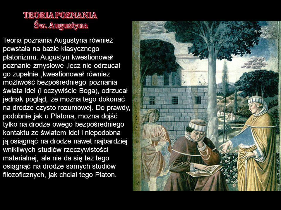 DNI FILOZOFICZNE 2007 TB Teoria poznania Augustyna również powstała na bazie klasycznego platonizmu. Augustyn kwestionował poznanie zmysłowe,lecz nie