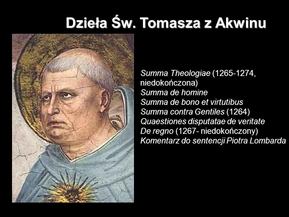 DNI FILOZOFICZNE 2007 TB Dzieła Św. Tomasza z Akwinu Summa Theologiae (1265-1274, niedokończona) Summa de homine Summa de bono et virtutibus Summa con