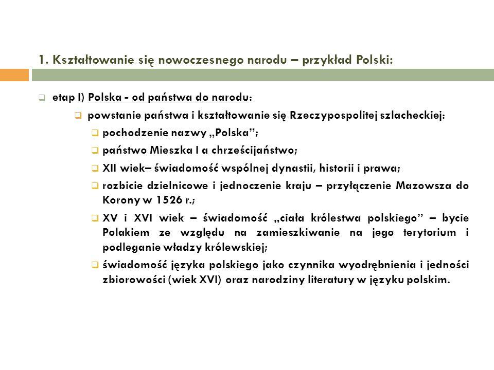 1. Kształtowanie się nowoczesnego narodu – przykład Polski: etap I) Polska - od państwa do narodu: powstanie państwa i kształtowanie się Rzeczypospoli