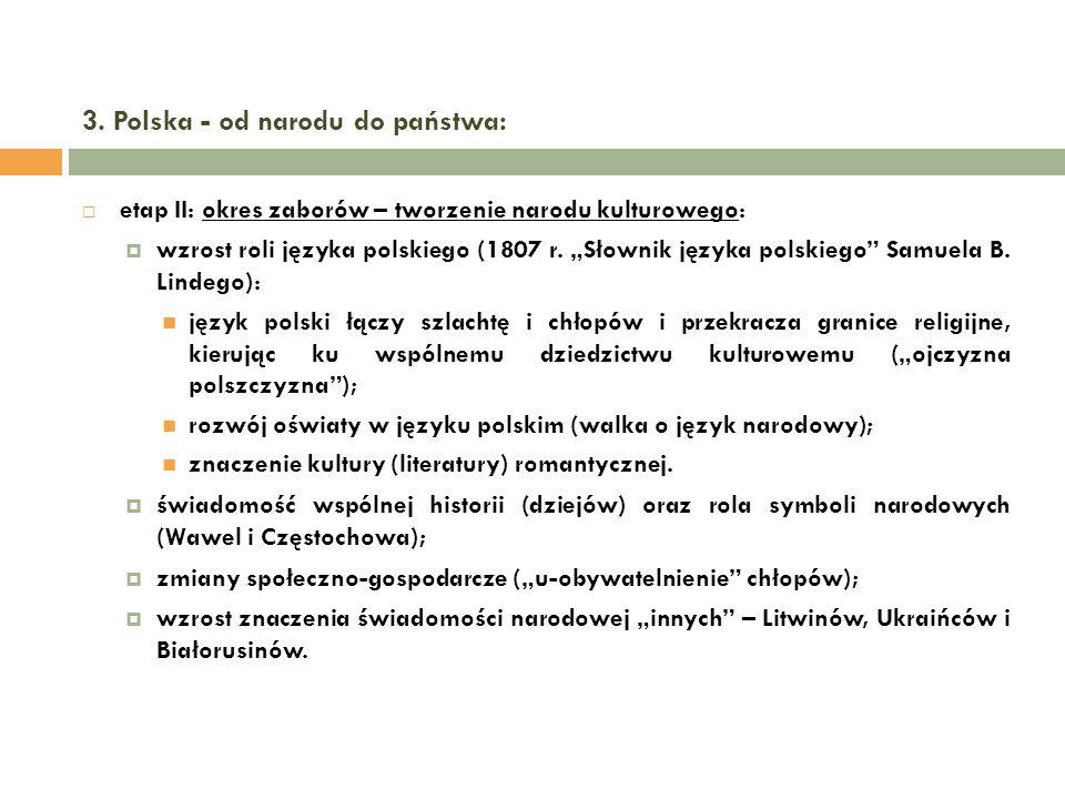3. Polska - od narodu do państwa: etap II: okres zaborów – tworzenie narodu kulturowego: wzrost roli języka polskiego (1807 r. Słownik języka polskieg