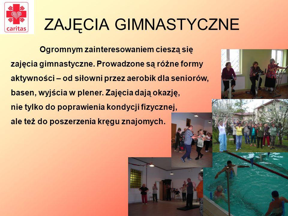 ZAJĘCIA GIMNASTYCZNE Ogromnym zainteresowaniem cieszą się zajęcia gimnastyczne. Prowadzone są różne formy aktywności – od siłowni przez aerobik dla se