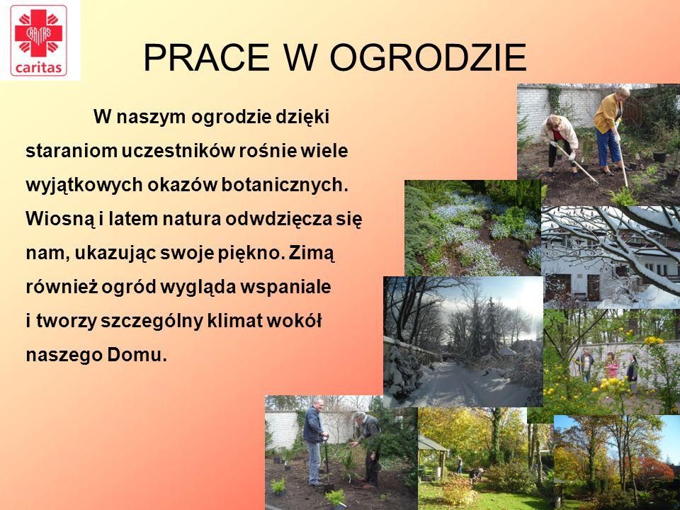 PRACE W OGRODZIE W naszym ogrodzie dzięki staraniom uczestników rośnie wiele wyjątkowych okazów botanicznych. Wiosną i latem natura odwdzięcza się nam