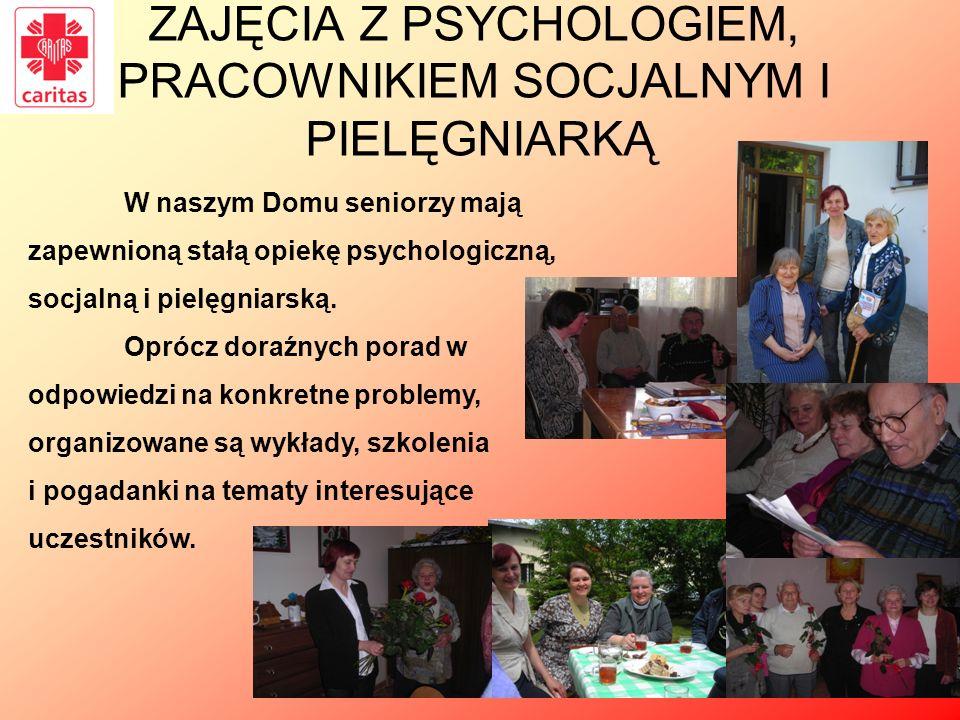 ZAJĘCIA Z PSYCHOLOGIEM, PRACOWNIKIEM SOCJALNYM I PIELĘGNIARKĄ W naszym Domu seniorzy mają zapewnioną stałą opiekę psychologiczną, socjalną i pielęgnia