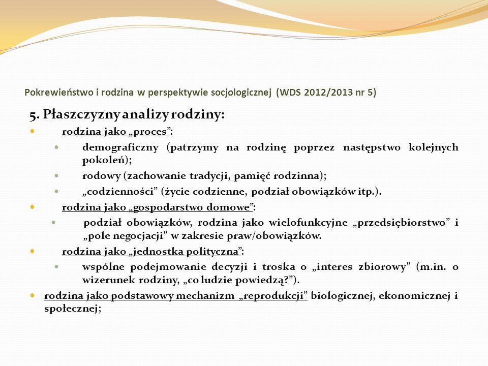 Pokrewieństwo i rodzina w perspektywie socjologicznej (WDS 2012/2013 nr 5) 5. Płaszczyzny analizy rodziny: rodzina jako proces: demograficzny (patrzym