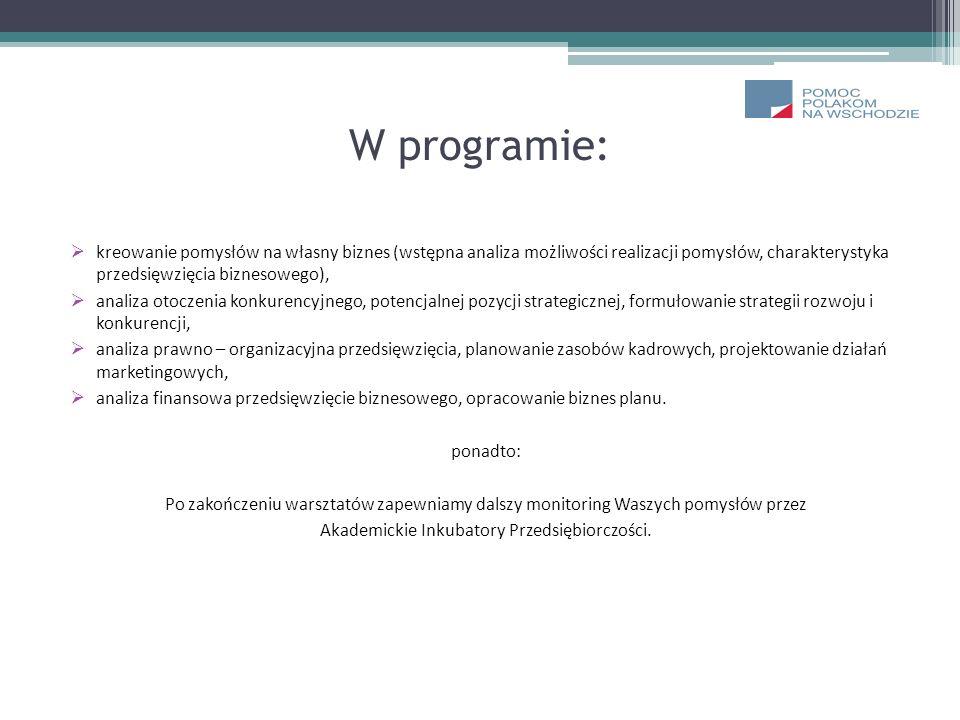 W programie: kreowanie pomysłów na własny biznes (wstępna analiza możliwości realizacji pomysłów, charakterystyka przedsięwzięcia biznesowego), analiz