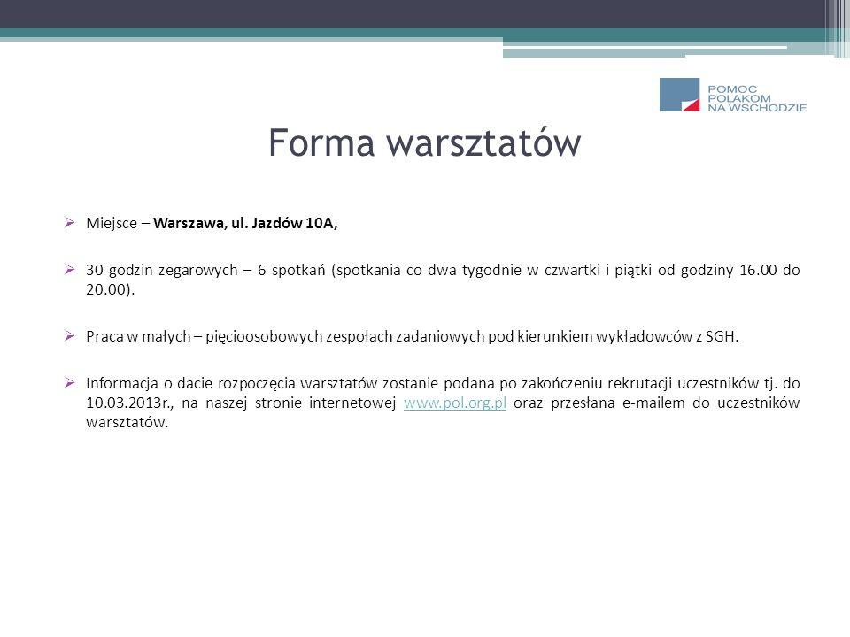 Forma warsztatów Miejsce – Warszawa, ul. Jazdów 10A, 30 godzin zegarowych – 6 spotkań (spotkania co dwa tygodnie w czwartki i piątki od godziny 16.00