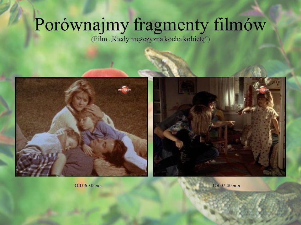 Porównajmy fragmenty filmów (Film Kiedy mężczyzna kocha kobietę) Od 06.30 min.Od 02.00 min