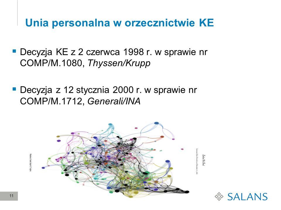11 Unia personalna w orzecznictwie KE Decyzja KE z 2 czerwca 1998 r. w sprawie nr COMP/M.1080, Thyssen/Krupp Decyzja z 12 stycznia 2000 r. w sprawie n