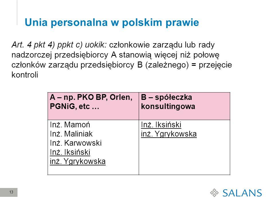 13 Unia personalna w polskim prawie Art. 4 pkt 4) ppkt c) uokik: członkowie zarządu lub rady nadzorczej przedsiębiorcy A stanowią więcej niż połowę cz